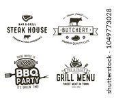 vintage hand drawn steak house... | Shutterstock .eps vector #1049773028