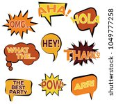 set of nine cartoon comic... | Shutterstock . vector #1049777258