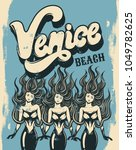 venice beach. vector colorful... | Shutterstock .eps vector #1049782625