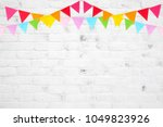 colorful party flags hanging on ... | Shutterstock . vector #1049823926