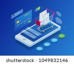 isometric smart phone online... | Shutterstock .eps vector #1049832146