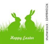 green rabbits silhouette on... | Shutterstock .eps vector #1049840126