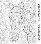 adult coloring book page a cute ... | Shutterstock .eps vector #1049858465