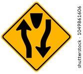 divided highway begins traffic... | Shutterstock .eps vector #1049861606