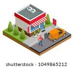 isometric fast food restaurant...   Shutterstock .eps vector #1049865212