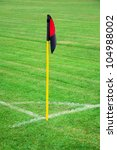 red and black soccer corner... | Shutterstock . vector #104988002