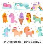 pony vector cartoon unicorn or... | Shutterstock .eps vector #1049885822