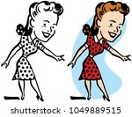 a smiling woman in a polka...   Shutterstock .eps vector #1049889515