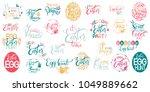 happy easter big lettering set. ... | Shutterstock .eps vector #1049889662
