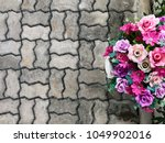Top View Of Flowers Grouped On...