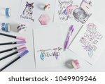 hand lettering workspace artist ... | Shutterstock . vector #1049909246