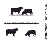 cattle and grass silhouette | Shutterstock .eps vector #1049916332