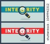 integrity word with magnifier... | Shutterstock .eps vector #1049942312