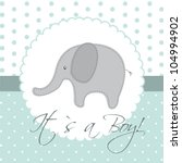 Stock vector baby shower card with cute elephant vector illustration 104994902