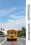yellow school bus broken down... | Shutterstock . vector #104995226