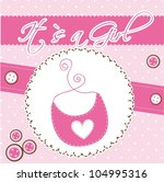 pink cute card with bib  baby... | Shutterstock .eps vector #104995316