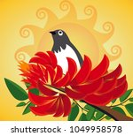 erythrina variegata flowers and ... | Shutterstock .eps vector #1049958578
