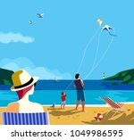 kiting on sea beach. family... | Shutterstock .eps vector #1049986595
