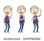 vector set of old man character ... | Shutterstock .eps vector #1049986886