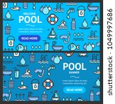 pool and water signs banner...   Shutterstock .eps vector #1049997686