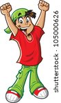 happy cheering boy has a big... | Shutterstock .eps vector #105000626