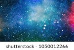Watercolor Background with Outer Space, Stars and Colorful Nebula . Planet - Elements of this Image Furnished by NASA