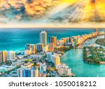 helicopter view of south beach  ... | Shutterstock . vector #1050018212
