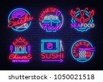 collection neon signs food. set ... | Shutterstock .eps vector #1050021518