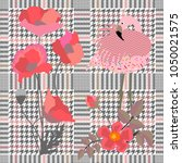 trendy checkered  print with... | Shutterstock .eps vector #1050021575