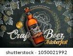 craft beer ads  realistic 3d... | Shutterstock .eps vector #1050021992