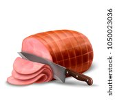 smoked ham isolated  delicious... | Shutterstock .eps vector #1050023036
