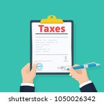 man hold tax payment.... | Shutterstock .eps vector #1050026342