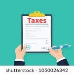 man hold tax payment.... | Shutterstock .eps vector #1050026342