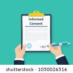 man hold information consent.... | Shutterstock .eps vector #1050026516