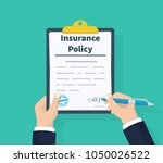 insurance policy. holding... | Shutterstock .eps vector #1050026522