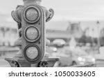 retro pedestrian traffic light...   Shutterstock . vector #1050033605