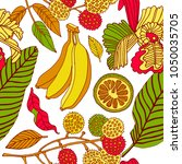 tropical flowers and fruits.... | Shutterstock .eps vector #1050035705