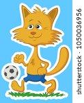 cartoon red cat  funny pet ...   Shutterstock . vector #1050036956