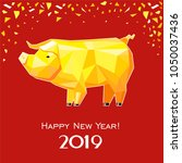 happy new year 2019  greeting... | Shutterstock .eps vector #1050037436