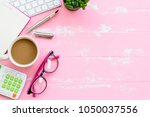 top view office table with...   Shutterstock . vector #1050037556