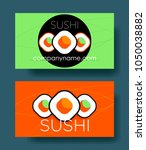 set of two sushi horizontal... | Shutterstock .eps vector #1050038882