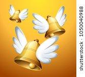 flying easter bells | Shutterstock .eps vector #1050040988