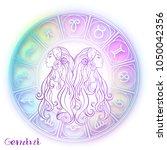 gemini  twins girls zodiac sign.... | Shutterstock .eps vector #1050042356