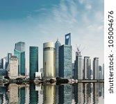modern city shanghai skyline in ... | Shutterstock . vector #105004676