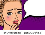 crying retro woman. portrait of ... | Shutterstock .eps vector #1050064466