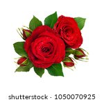 Stock photo floral composition with red rose flowers and buds isolated on white background flat lay top view 1050070925