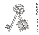 vintage key with keychain. hand ... | Shutterstock .eps vector #1050085058