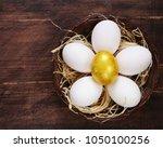 golden egg and white eggs on a... | Shutterstock . vector #1050100256