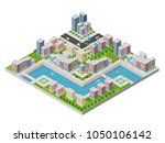 waterfront with a river | Shutterstock . vector #1050106142