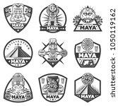 vintage monochrome maya labels... | Shutterstock .eps vector #1050119162